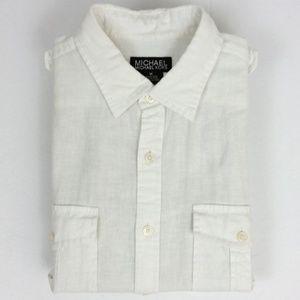 Linen Blend Roll Up Sleeve Shirt